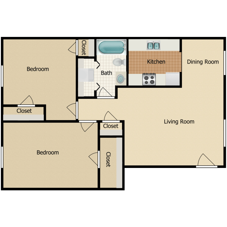 Floor plan image of Two Bedroom with Washer and Dryer