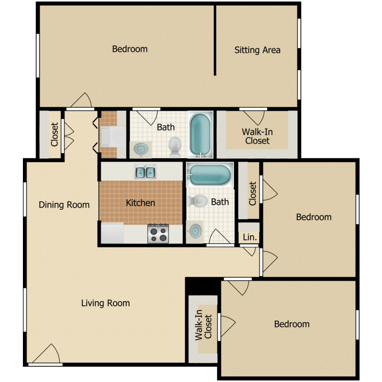 Floor plan image of Three Bedroom with Washer and Dryer C