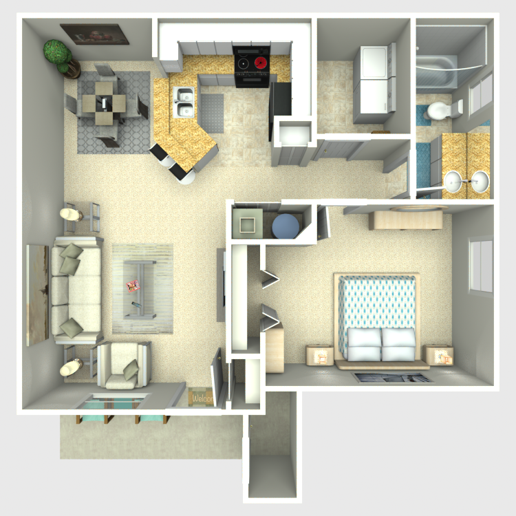 Floor plan image of One Bed/One Bath