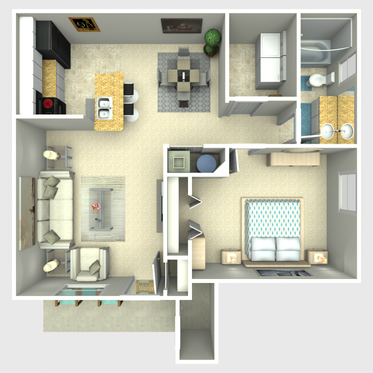 Floor plan image of One Bed/One Bath Model B