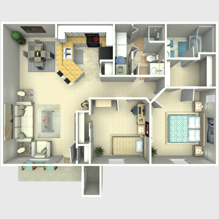 Floor plan image of Two Bed/Two Bath