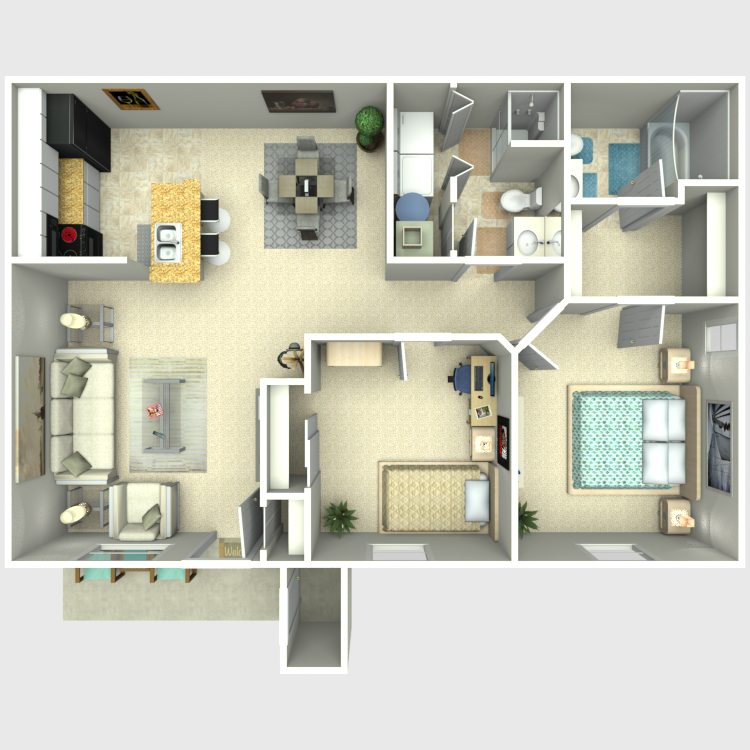 Floor plan image of Two Bed/Two Bath Model B