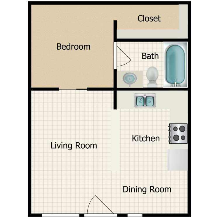 Fully Renovated 1 Bedroom floor plan image
