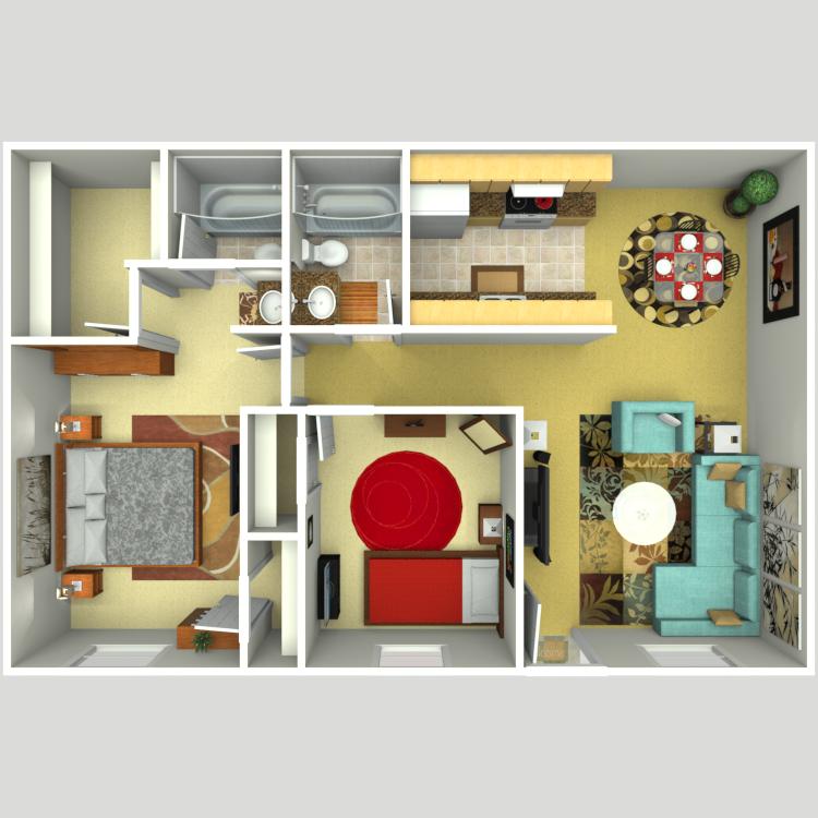 Floor plan image of Plan D 2 Bed 2 Bath