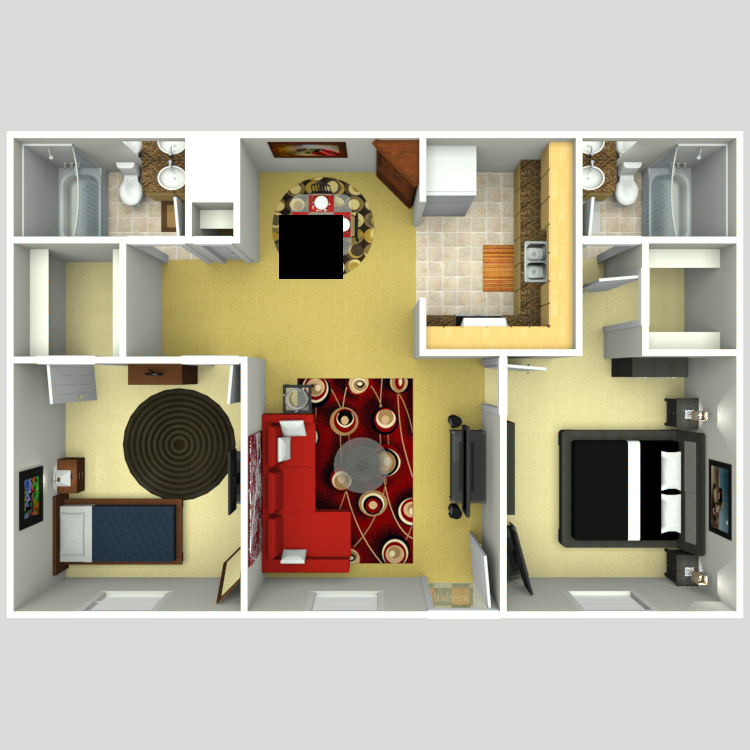 Floor plan image of Plan E 2 Bed 2 Bath