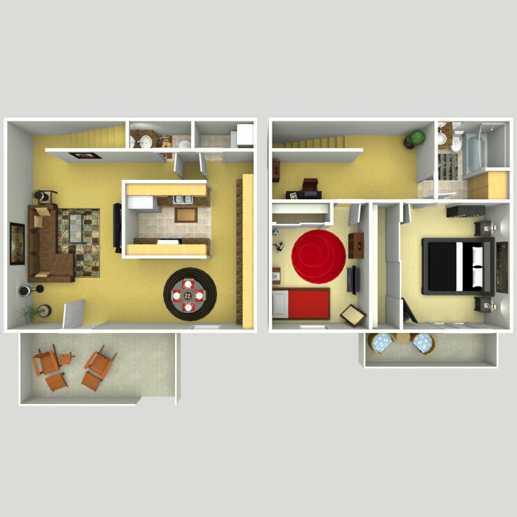 Floor plan image of Plan F 2 Bed 1.5 Bath