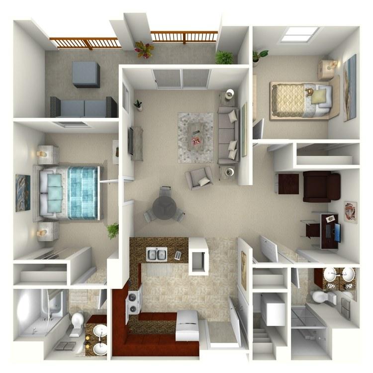 Floor plan image of Two Bedroom with Den