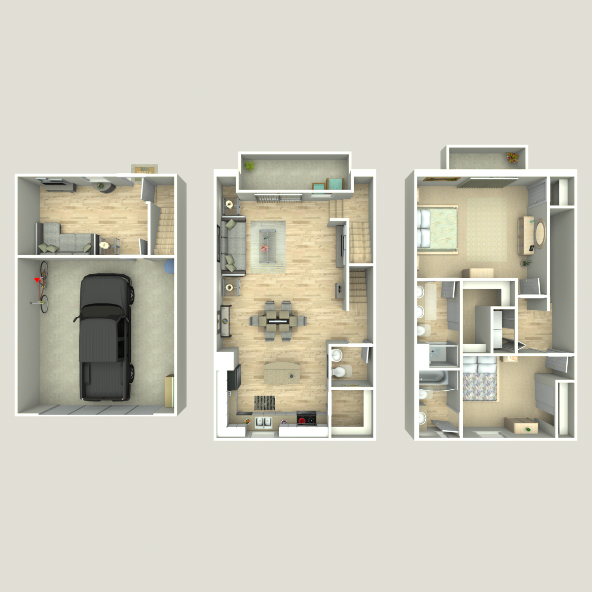 Floor plan image of 2 Bed 2.5 Bath B plus Den