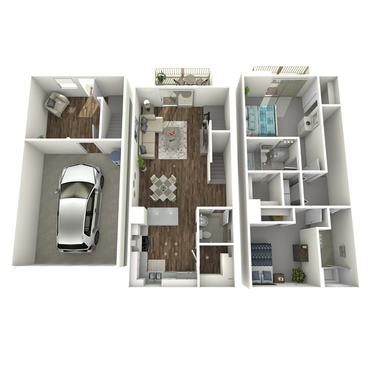 Floor plan image of 2 Bed 2.5 Bath plus Den