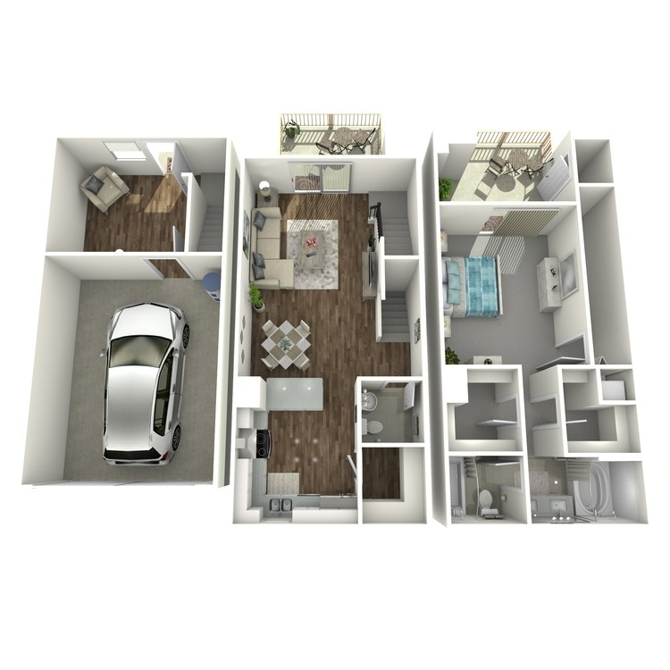 Floor plan image of 1 Bed 1.5 Bath plus Den