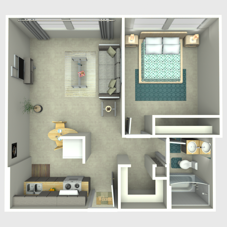 1 Bed 1 Bath B floor plan image
