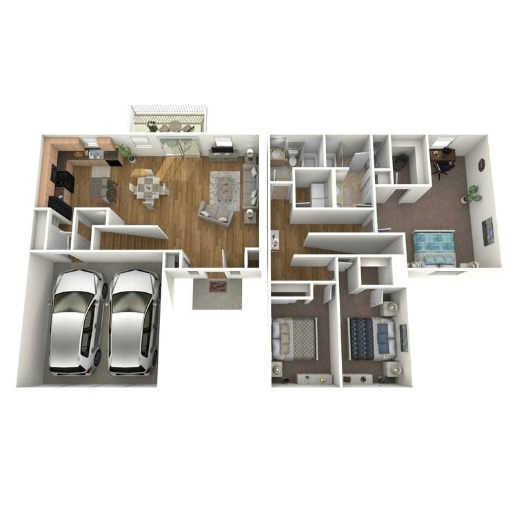 Floor plan image of Villa Three Bedroom 2.5 Bathroom