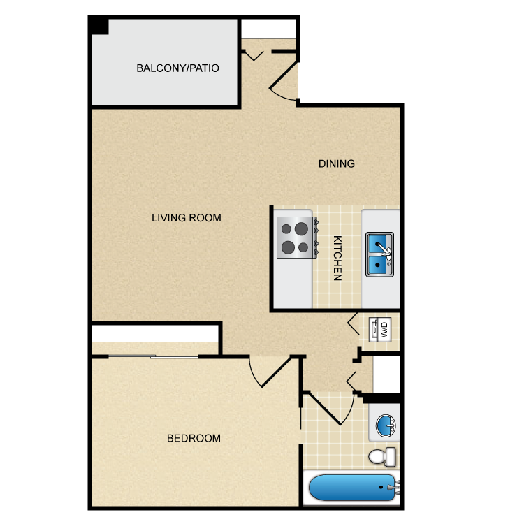 Floor plan image of Model A - 1 Bed 1 Bath