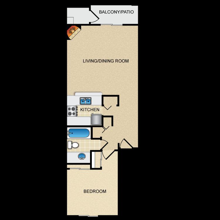 Floor plan image of Model B - 1 Bed 1 Bath
