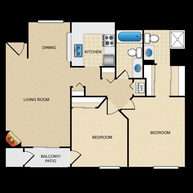 Floor plan image of Model C - 2 Bed 2 Bath