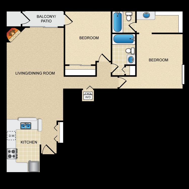 Floor plan image of Model D - 2 Bed 2 Bath