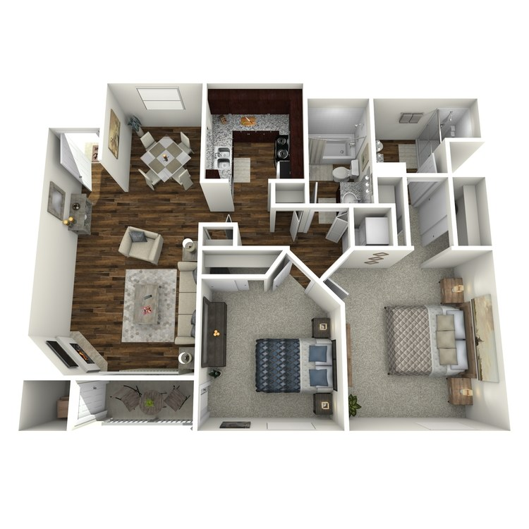 Floor plan image of Model C - 2 Bed 2 Bath