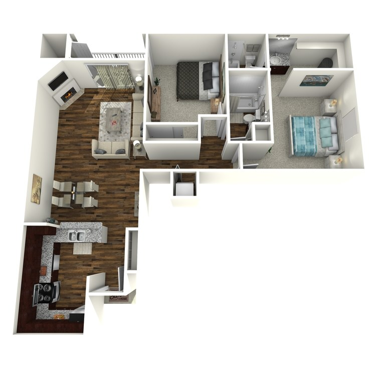 Floor plan image of Model D - 2 Bed 2 Bath
