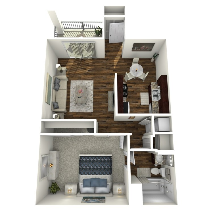 Floor plan image of Model A - 1 Bed 1 Bath