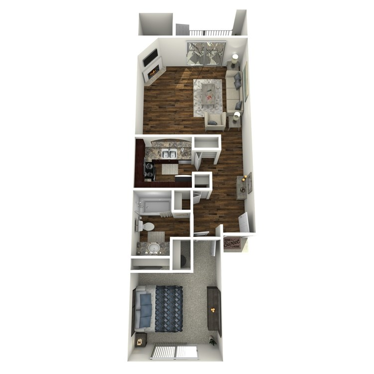 Floor plan image of Model B - 1 Bed 1 Bath
