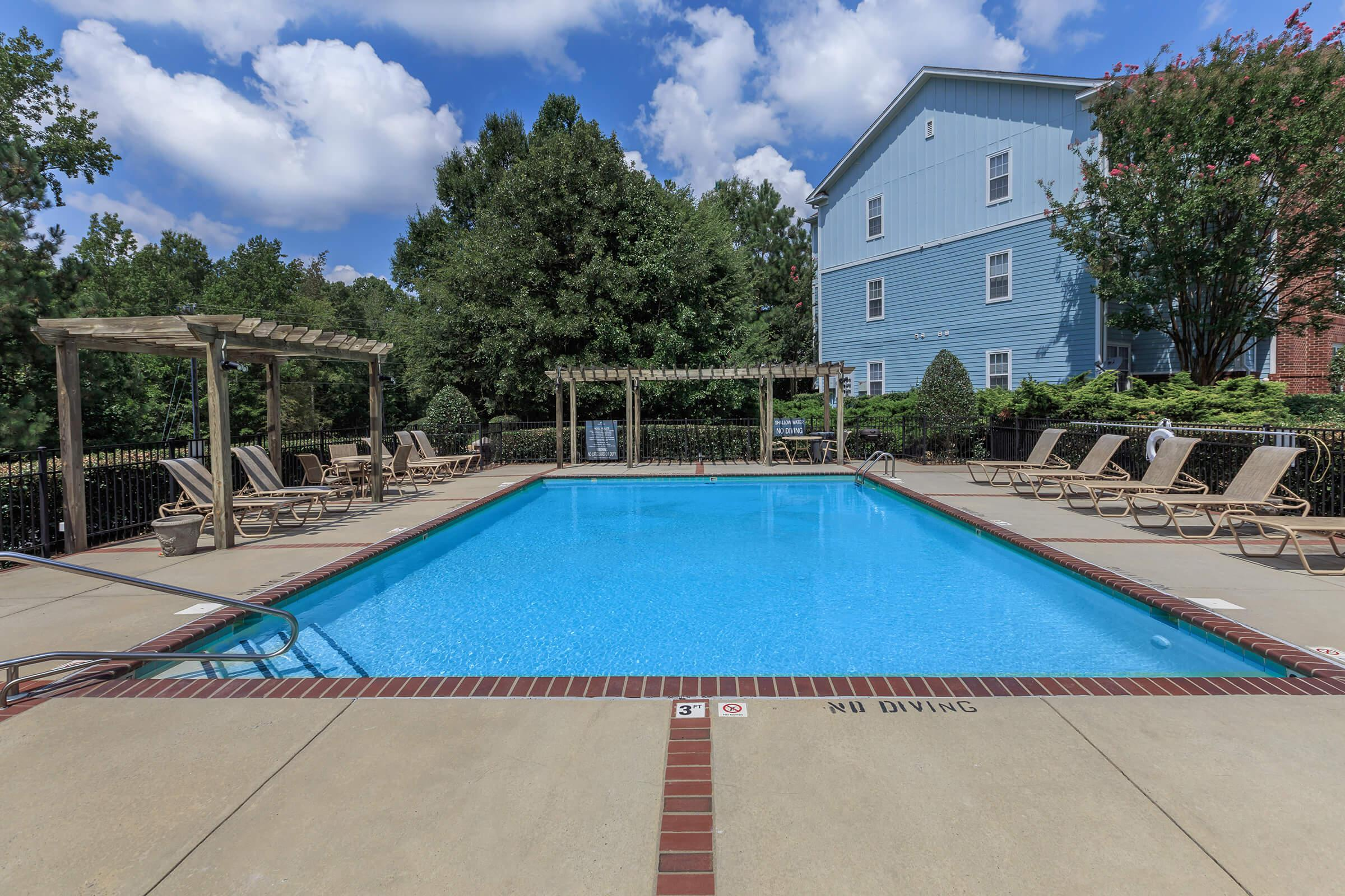 a blue pool