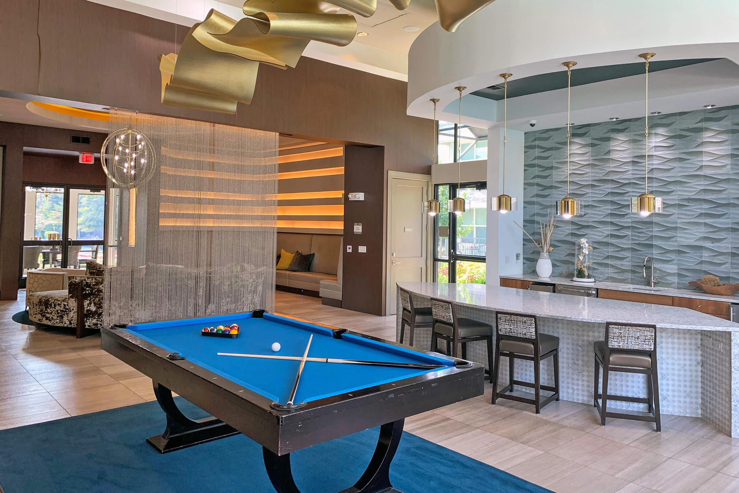 a room with a pool table