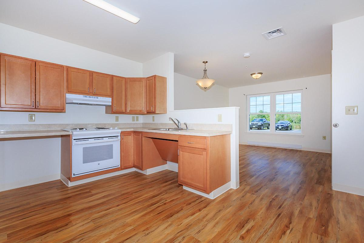 a kitchen with wooden cabinets and a wood floor