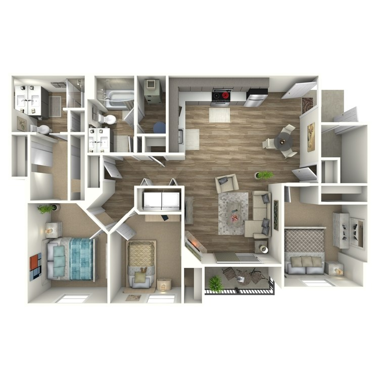 Floor plan image of 3 Bed 2 Bath