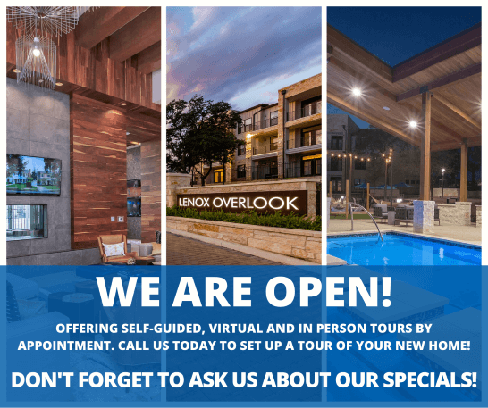 Lenox Overlook, we are open! Offering self-guided, virtual, and in person tours by appointment. Call us today to set up a tour of your new home! Don't forget to ask us about our specials!
