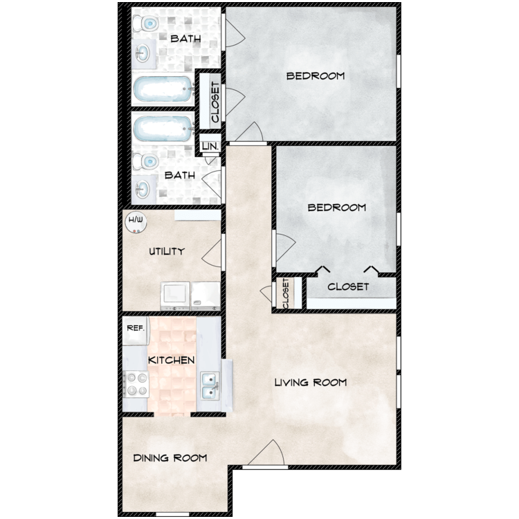 Floor plan image of Two Bedroom Ranch