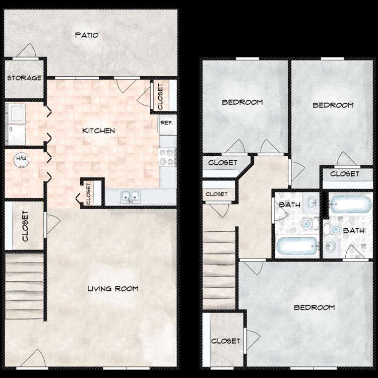 Floor plan image of Three Bedroom Townhome