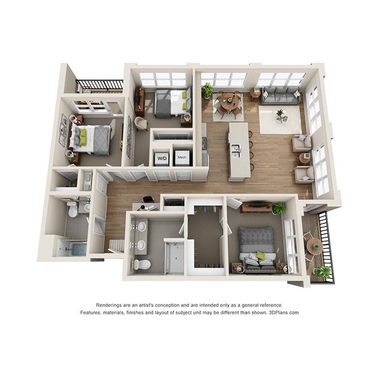 Floor plan image of 3B