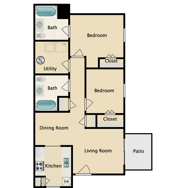 2/2 Ranch Style floor plan image