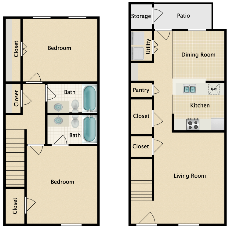 2/2 Townhome floor plan image