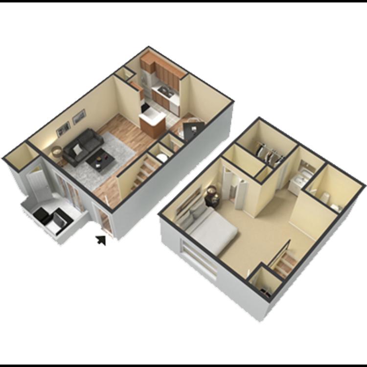 Floor plan image of 1 Bed 1 Bath TH