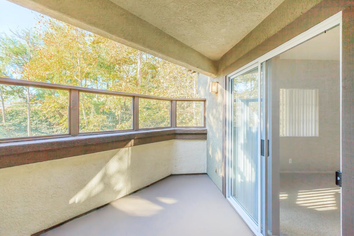 Balcony with sliding glass doors
