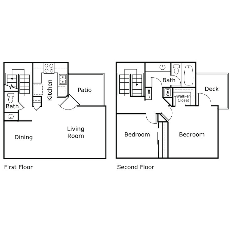 Floor plan image of 2 Bed 1.5 Bath Townhome B