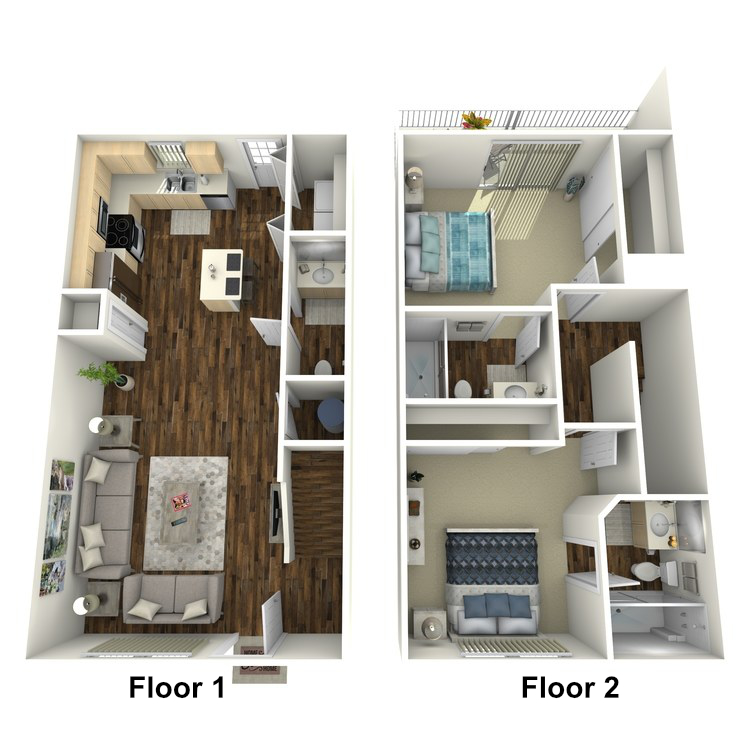 Floor plan image of 2 Bed 2.5 Bath Unfurnished