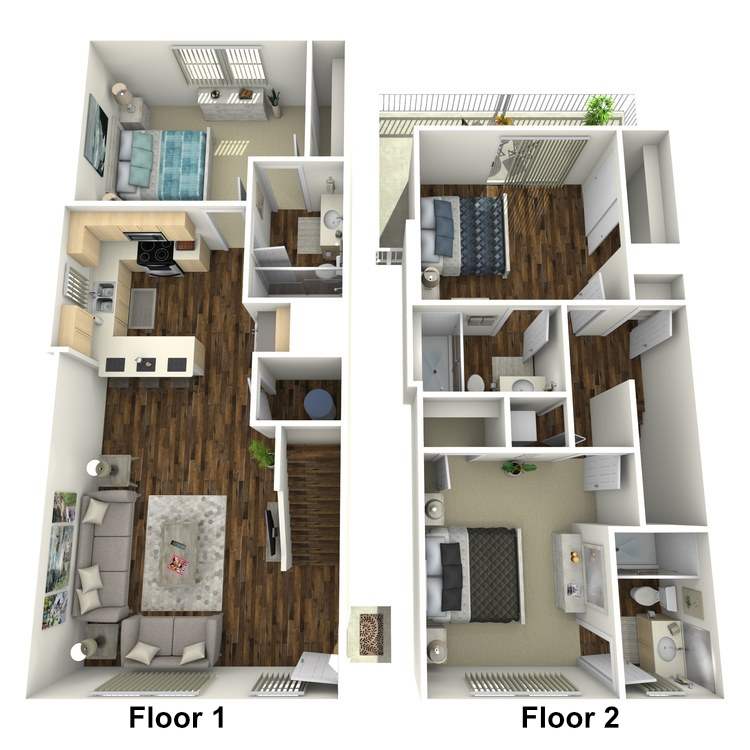 Floor plan image of 3 Bed 3 Bath Unfurnished