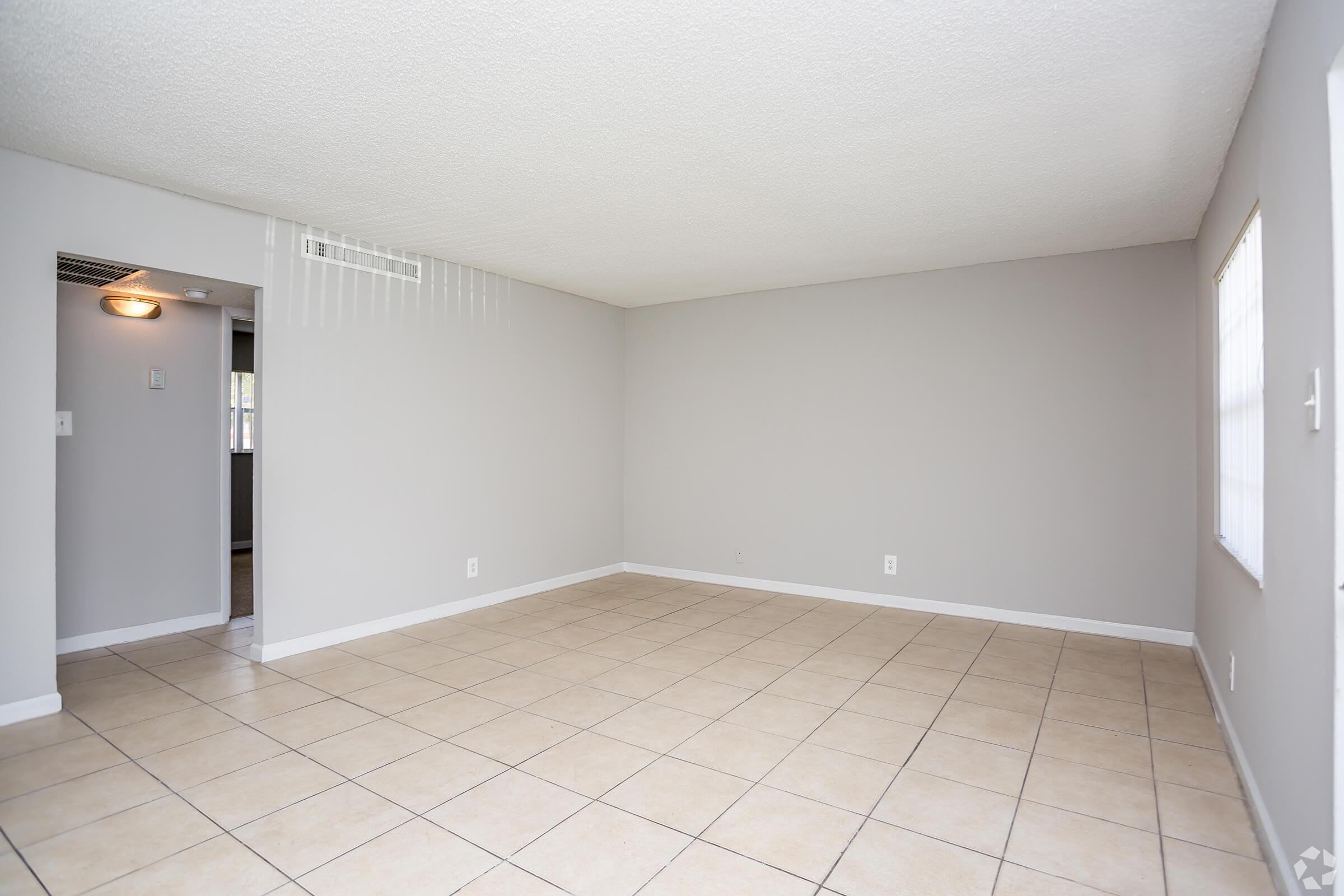 a room with a tile floor
