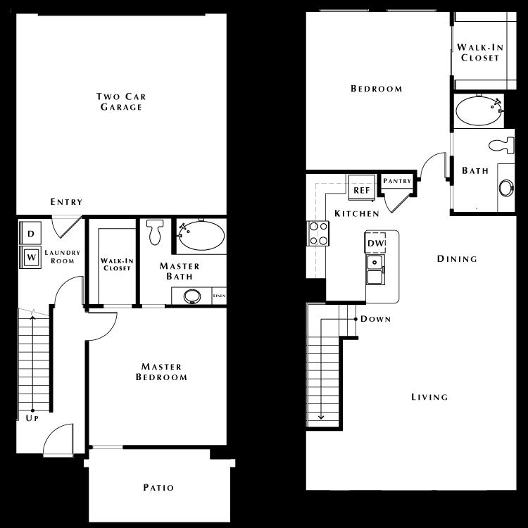 Floor plan image of Townhouse w/2 Car Garage - Phase II