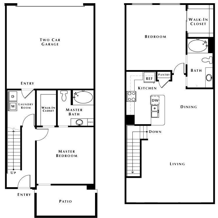 Floor plan image of Townhouse w/2 Car Garage - Phase II