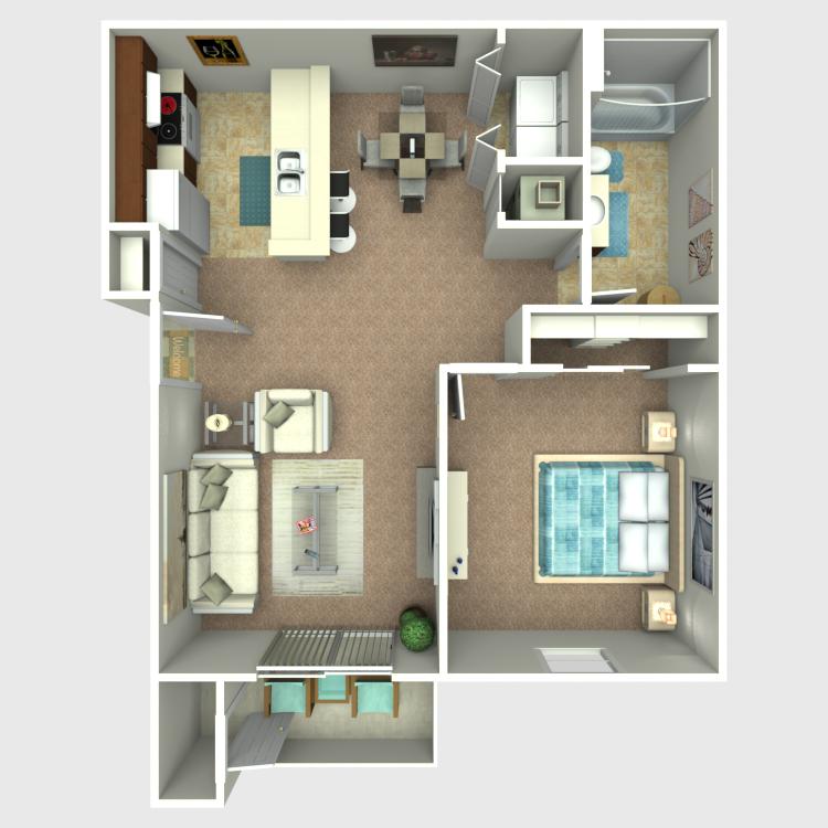 1 Bedroom 1 Bath floor plan image