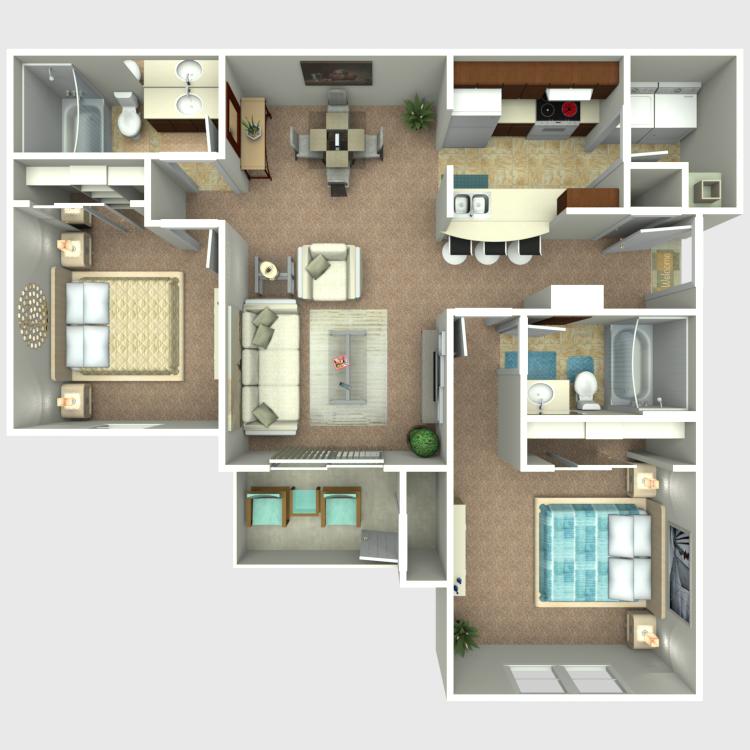 2 Bedroom 2 Bath floor plan image