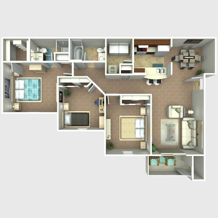 3 Bedroom 2 Bath floor plan image