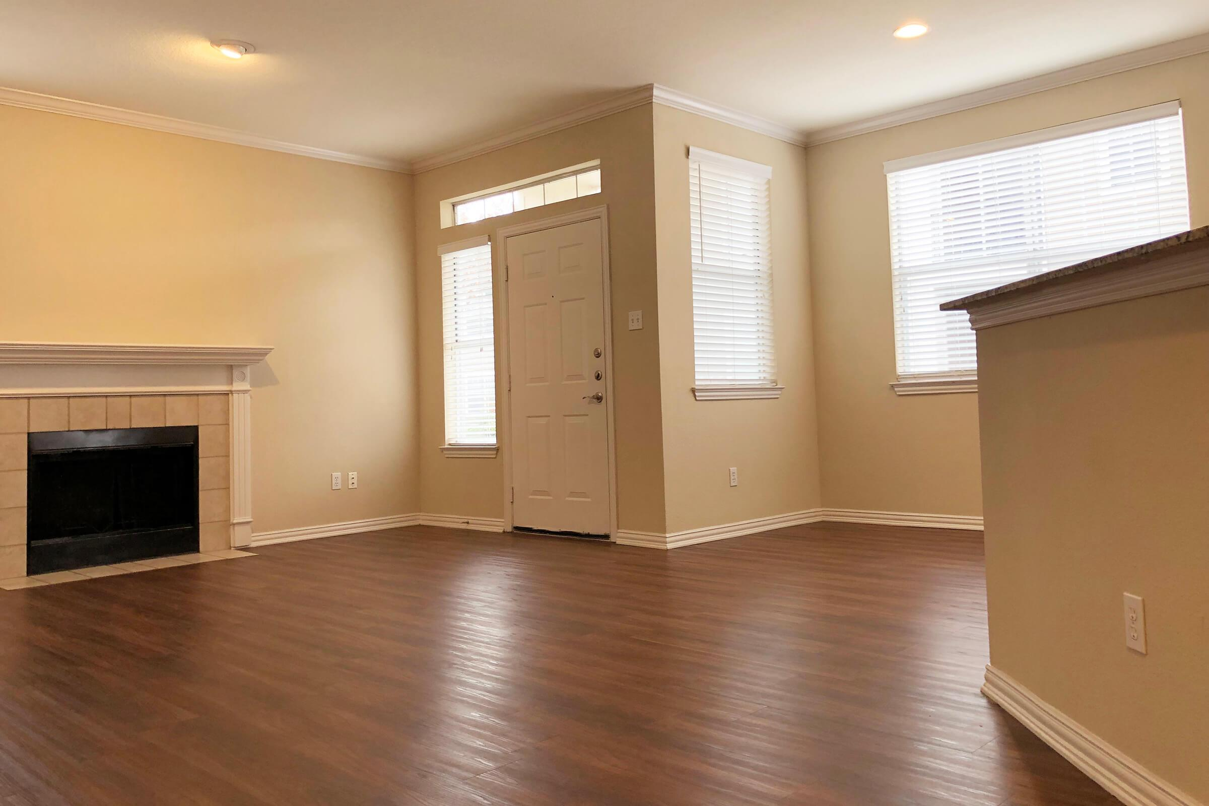 a room with a hard wood floor