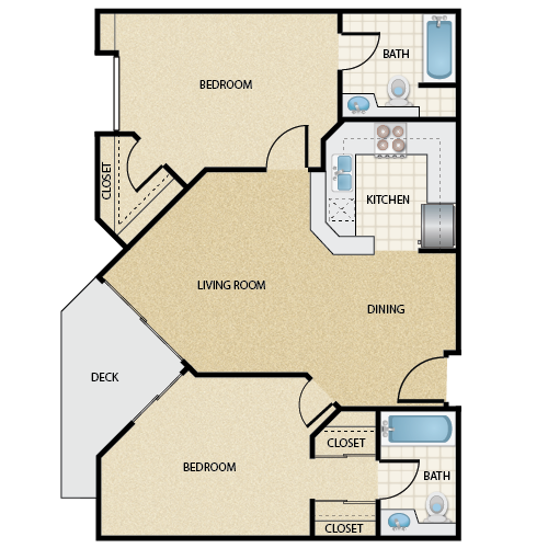 Floor plan image of Plan A 2 Bed 2 Bath