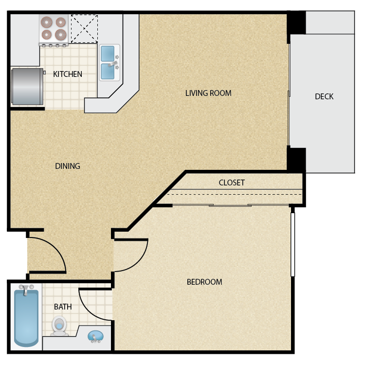 Floor plan image of Plan C 1 Bed 1 Bath