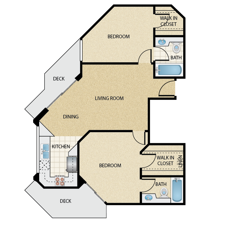 Floor plan image of Plan E 2 Bed 2 Bath