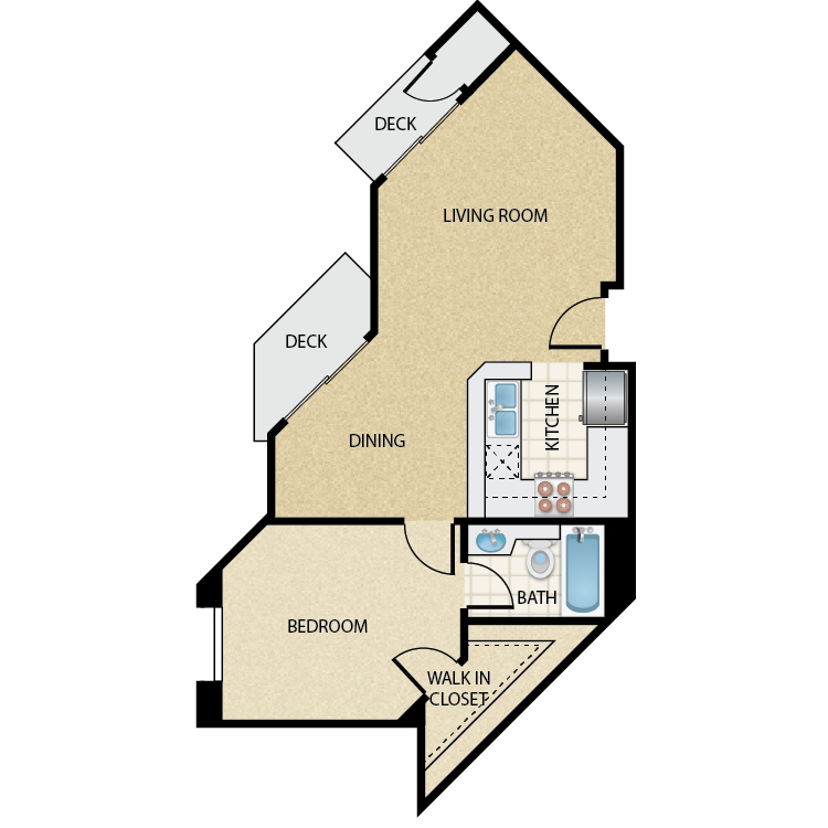 Floor plan image of Plan G 1 Bed 1 Bath